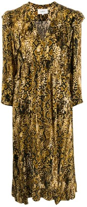 BA&SH Saha snakeskin print dress