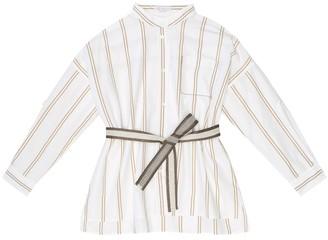 BRUNELLO CUCINELLI KIDS Striped cotton belted shirt