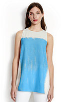 Lands' End Women's Sleeveless Tunic Top-White Dahlia Brush Stroke