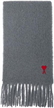 Ami Alexandre Mattiussi Grey Mohair Heart Logo Scarf