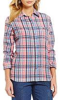 Allison Daley 3/4 Sleeve Button-Up Plaid Blouse