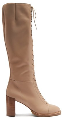 Gabriela Hearst Pat Lace-up Leather Knee-high Boots - Beige
