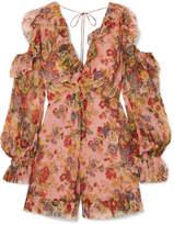 Zimmermann Lovelorn Cold-shoulder Ruffled Floral-print Silk-georgette Playsuit