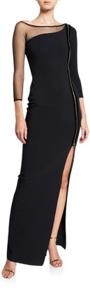 Chiara Boni Asymmetric Zip-Front 3/4-Sleeve Gown with Mesh Inset