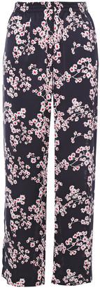 Paco Rabanne Floral-print Satin Straight-leg Pants