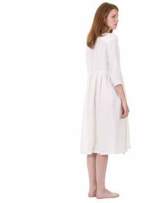 Zen Ethic - White Linen Wrap Dress - medium
