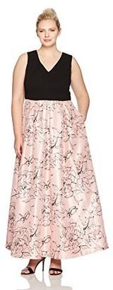 Sangria Women's Size Floral Sateen Gown Plus