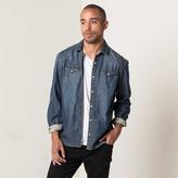 DSTLD Mens Button Down Denim Shirt in Dark Vintage