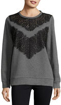 French Connection Misty Lace-Trimmed Sweatshirt