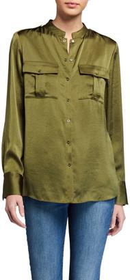 Elie Tahari Emmett Satin Button-Down Shirt