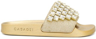 Casadei Embellished Glitter Sliders