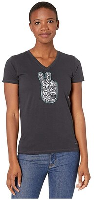 Life is Good Floral Peace Hand Crusher Vee (Jet Black) Women's Clothing