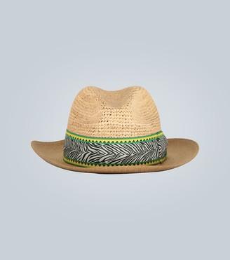Borsalino Zebra patterned Panama hat band