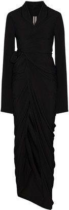 Rick Owens Draped Wrap Front Maxi Dress