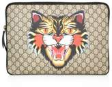 Gucci Angry Cat-Print GG Supreme Laptop Case