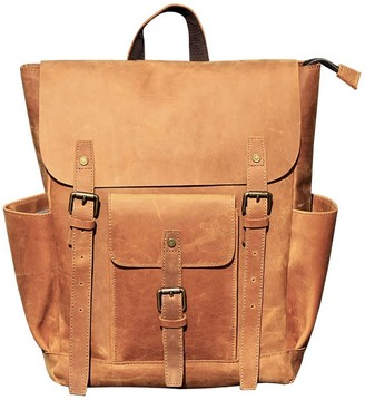Touri Vintage Look Leather Backpack In Tannish Brown