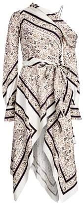 Jonathan Simkhai Scarf Print A-Line Handkerchief Maxi Dress