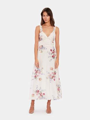 LoveShackFancy Sabina Silk Slip Midi Dress