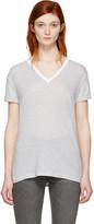 Alexander Wang Grey and White V-neck T-shirt