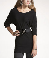 Express Button-Sleeve Tunic Sweater