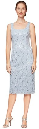 Alex Evenings Short Sequin Lace Shift Dress with Open Jacket (Hydrangea) Women's Dress
