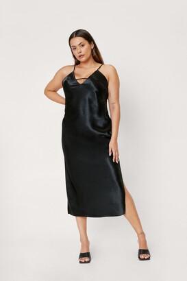 Nasty Gal Womens Rhythm of the Night Plus Midi Dress - Black - 16