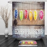 Vipsung Shower Curtain And Ground MatEaster Holiday Gifts Brown Blue Green Red Yellow FuchsiaShower Curtain Set with Bath Mats Rugs