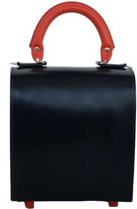 Kartu Studio Leather Top Handle Bag Mint - Dark Blue Orange Detail