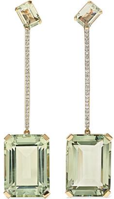 Mateo 14-karat Gold, Amethyst And Diamond Earrings - one size