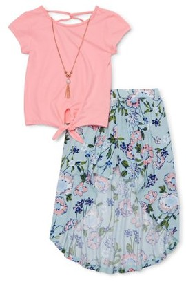 One Step Up Girls 4-12 Tie Front Top and Walk Thru Skirt, 2-Piece Outfit Set With Necklace