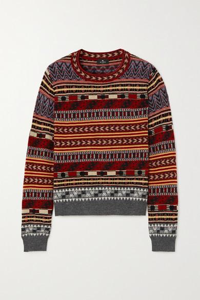 Etro Cropped Wool-blend Jacquard Sweater - Black