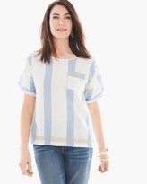 Chico's Embroidered Striped Tee