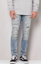 PacSun Stacked Skinny Ripped Light Wash Stretch Jeans