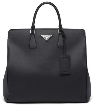 Prada Triangle Logo Tote Bag