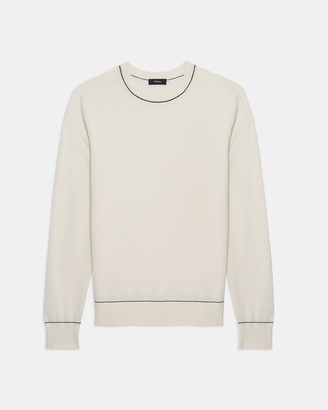 Theory Tipped Crewneck Sweater in Cotton-Wool