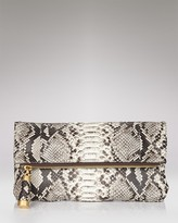 Tonne Python-Embossed Fold-Over Clutch