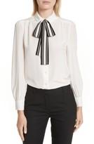 Kate Spade Women's Stripe Tie Silk Shirt