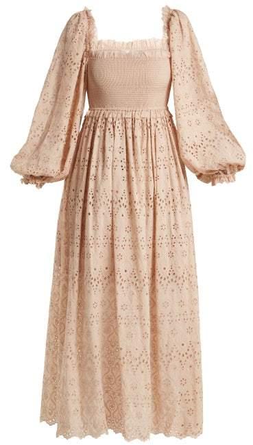 Zimmermann Bayou Blouson Broderie Anglaise Cotton Blend Dress - Womens - Nude