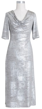 Connected Petite Drape-Neck Metallic Dress