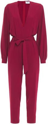 IRO Julliaca Belted Pleated Crepe Jumpsuit