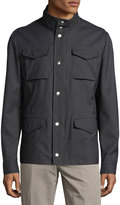 Brunello Cucinelli Short Field Stand-Collar Jacket, Charcoal