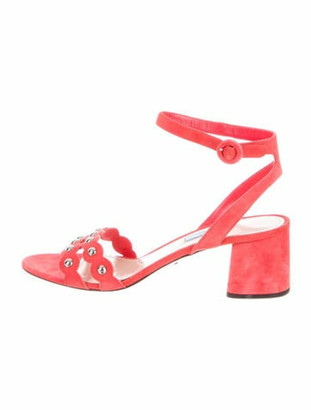 Prada Suede Studded Accents Sandals Pink