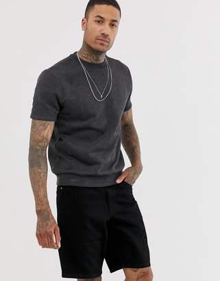 Asos Design DESIGN short sleeve sweatshirt in charcoal-Grey