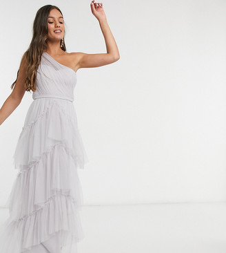 Little Mistress Petite tiered one shoulder maxi in ice gray