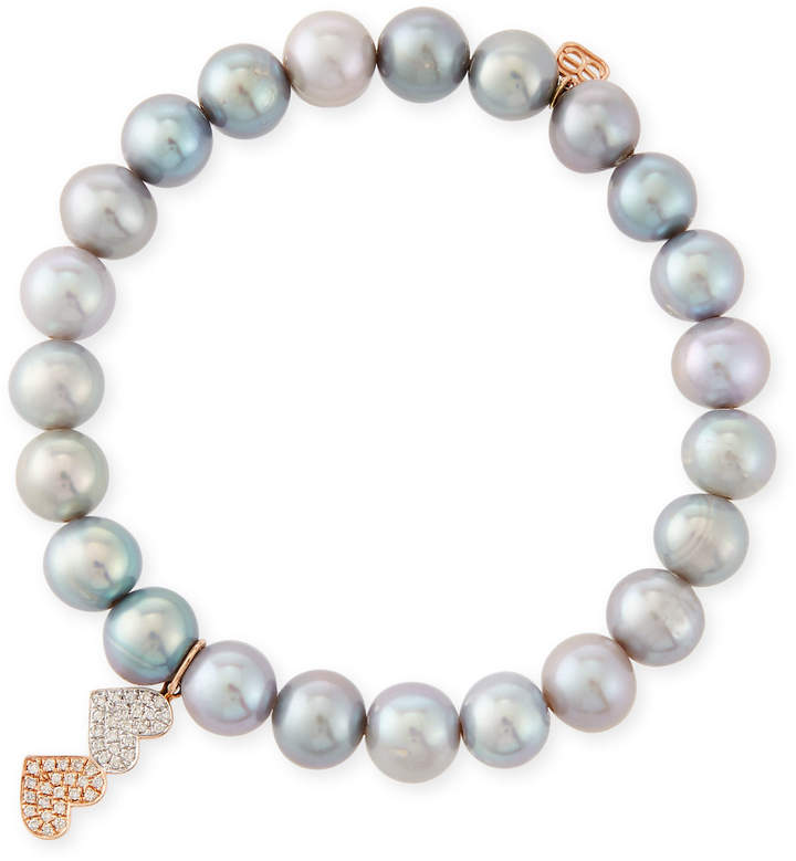 Sydney Evan 8mm Gray Pearl Beaded Bracelet with Diamond Duo Heart Charm