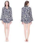 LILYSILK Women Silk Pajamas Set Blue & White Stripes L