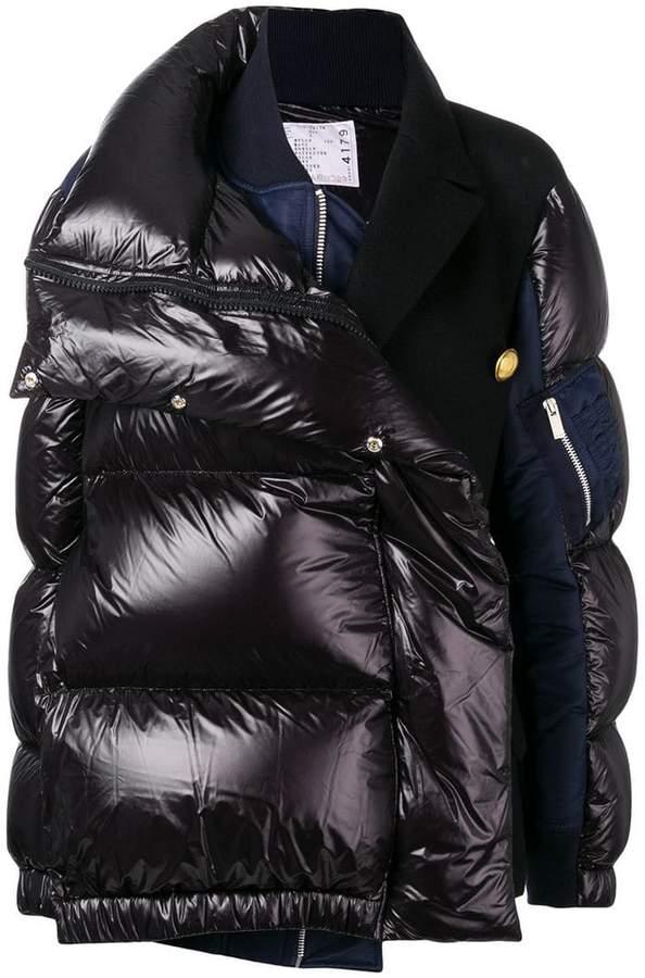 Sacai contrast panel puffer jacket
