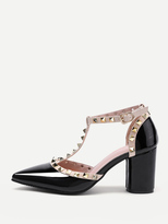 Shein Rockstud Decorated Point Toe Heeled Shoes