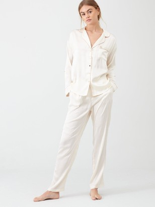 River Island Embroidered Woven Pyjama Top - Cream