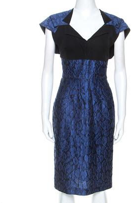 Roland Mouret Navy Blue Mirah Jacquard Cotton Silk Midi Dress S